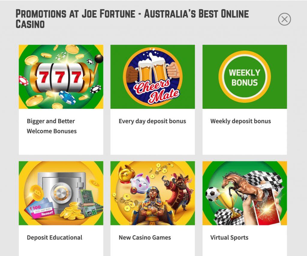 Joe Fortune Casino Bonuses